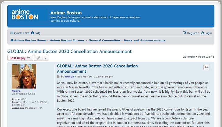 Anime Boston 2020が、新型コロナウイルスの影響で開催中止に