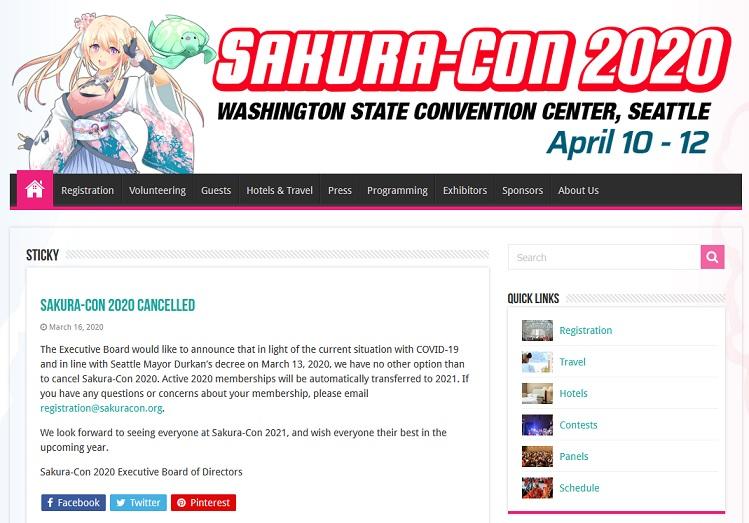 Sakura-Con 2020が、新型コロナウイルスの影響で開催中止に