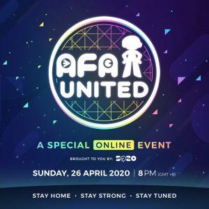 4月26日(日)21:00から、オンラインイベントAFA UNITEDが開催