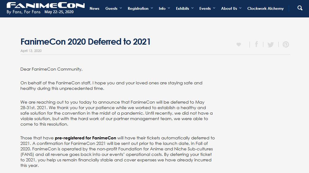 FanimeCon 2020が、新型コロナウイルスの影響で2021年5月に延期(実質中止)