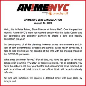 Anime NYC 2020が、新型コロナウイルスの影響で中止に